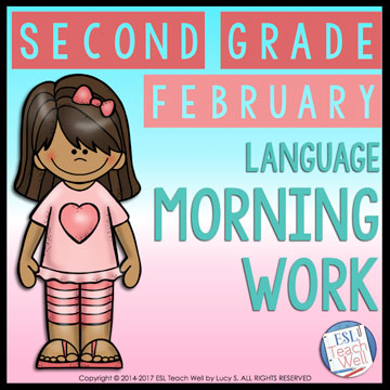 February Second Grade Morning Work: 20 printable sheets for lots of language practice #morningwork #secondgrade