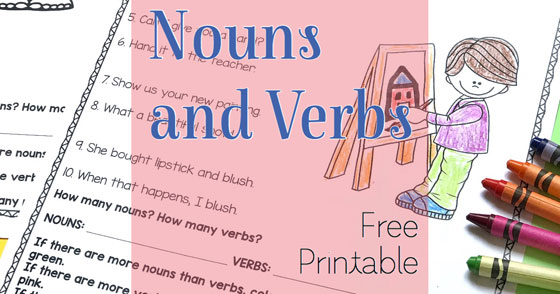Noun and Verb Identification Printables: FREE