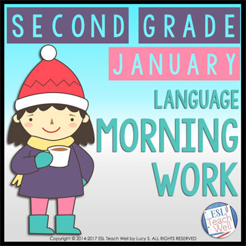 January Second Grade Morning Work: 20 printable sheets for lots of language practice #morningwork #secondgrade