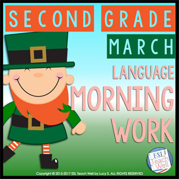 March Second Grade Morning Work: 20 printable sheets for lots of language practice #morningwork #secondgrade