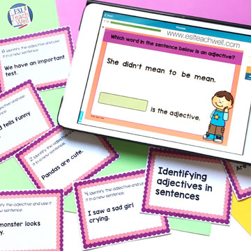 Adjectives Task Cards: set of printable and digital task cards for your students to practice identifying adjectives in sentences! #ESLTeachWell #adjectives #partsofspeech #teacherspayteachers #boomlearning