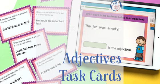 photo about Printable Task Cards referred to as Adjectives Undertaking Playing cards: Printable and Electronic - ESL Prepare Nicely